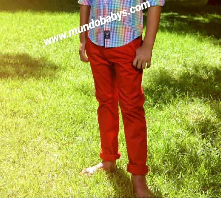Pantalón chino largo rojo