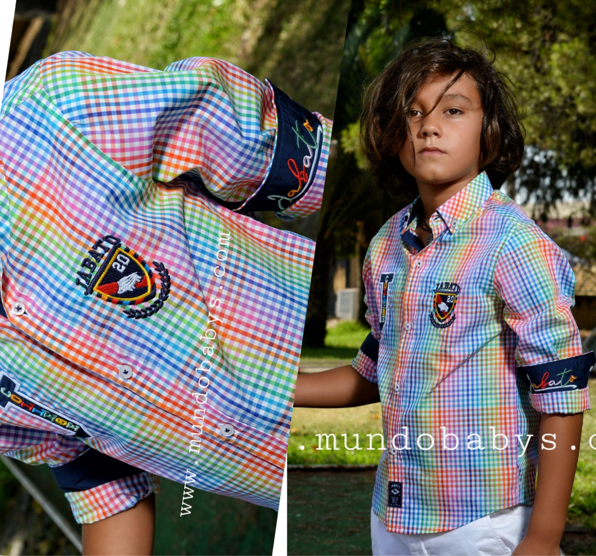 Camisa manga larga multicolor  con escudo bordado