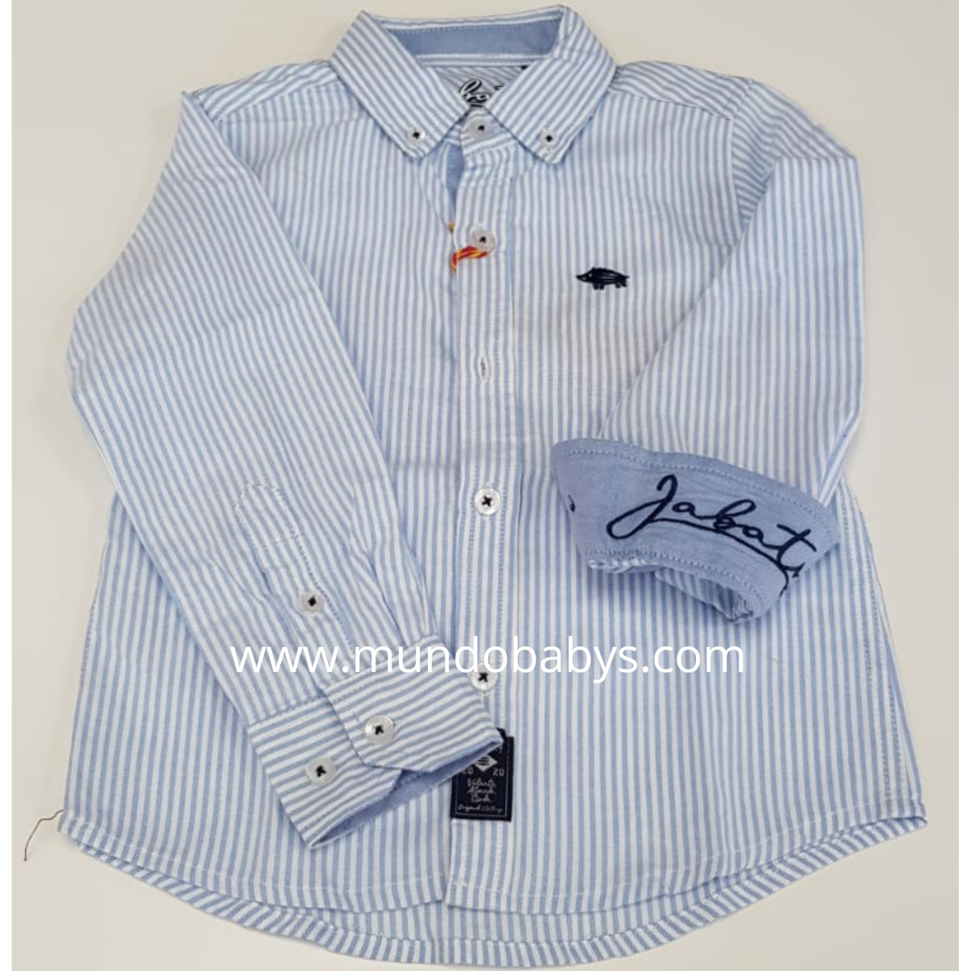 Camisa manga larga rayas celeste y blanco