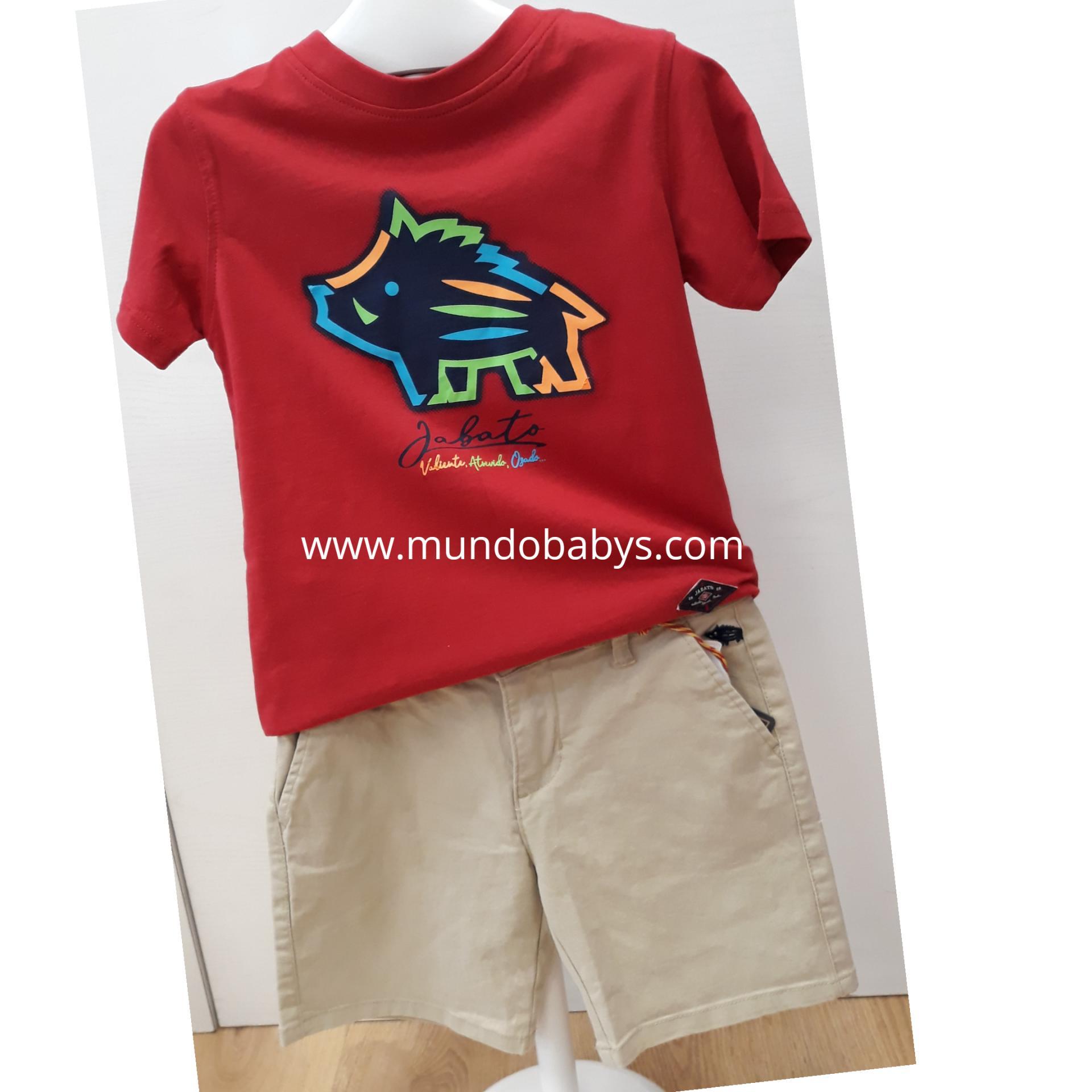 Camiseta roja con serigrafía jabato