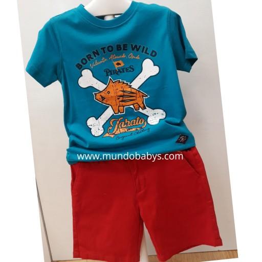 Camiseta turquesa  con serigrafía jabato
