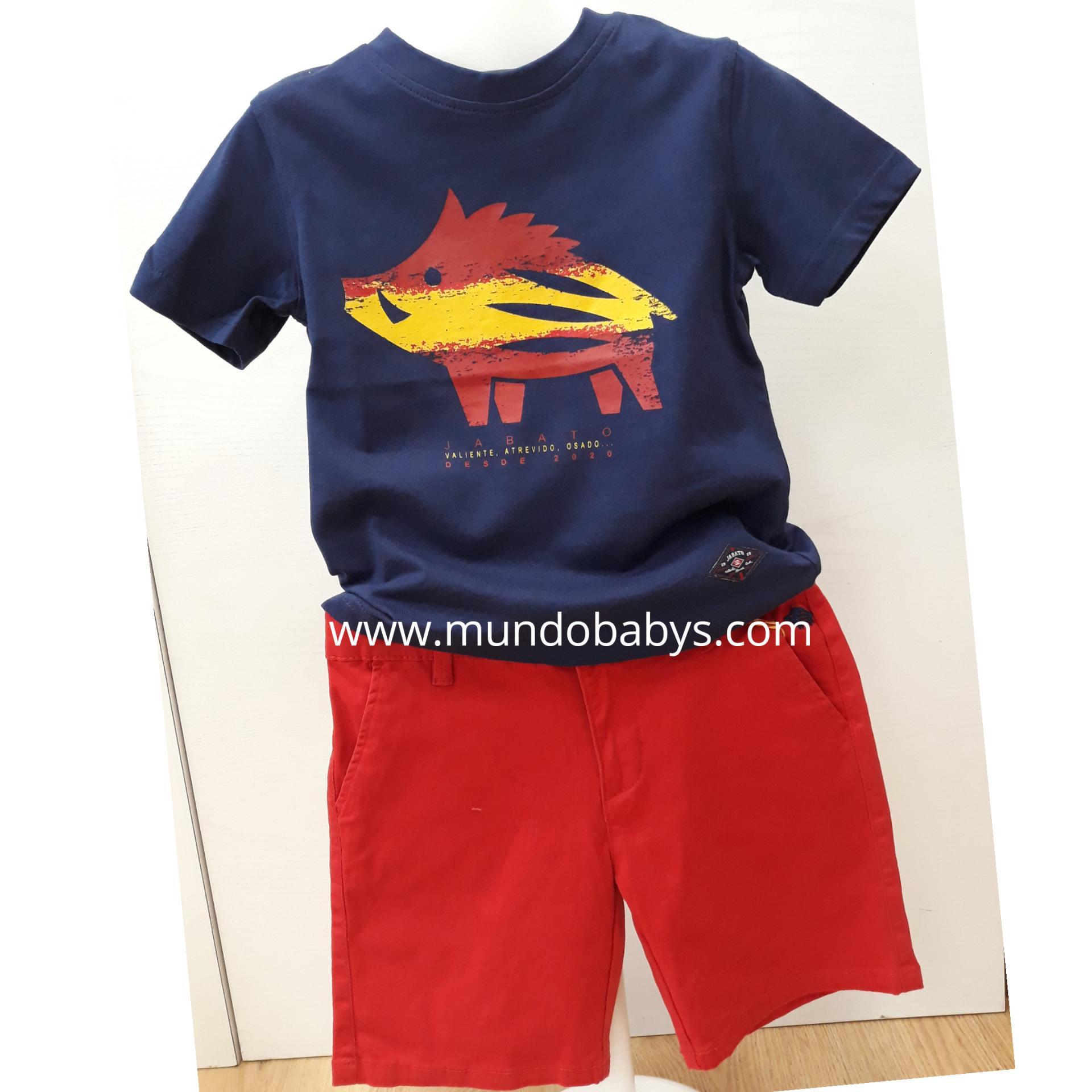 Camiseta azul marino con serigrafía en jabato