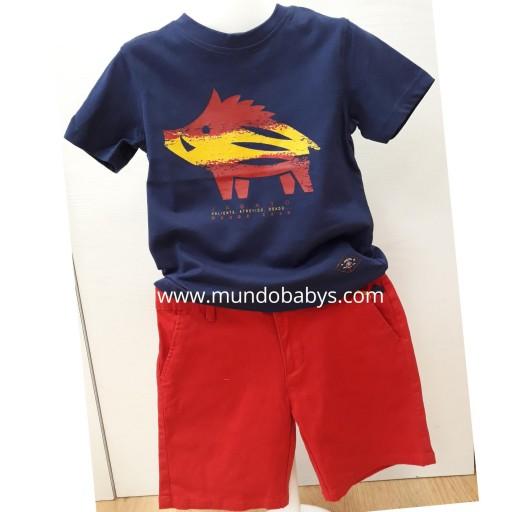 Camiseta azul marino con serigrafía en jabato [0]