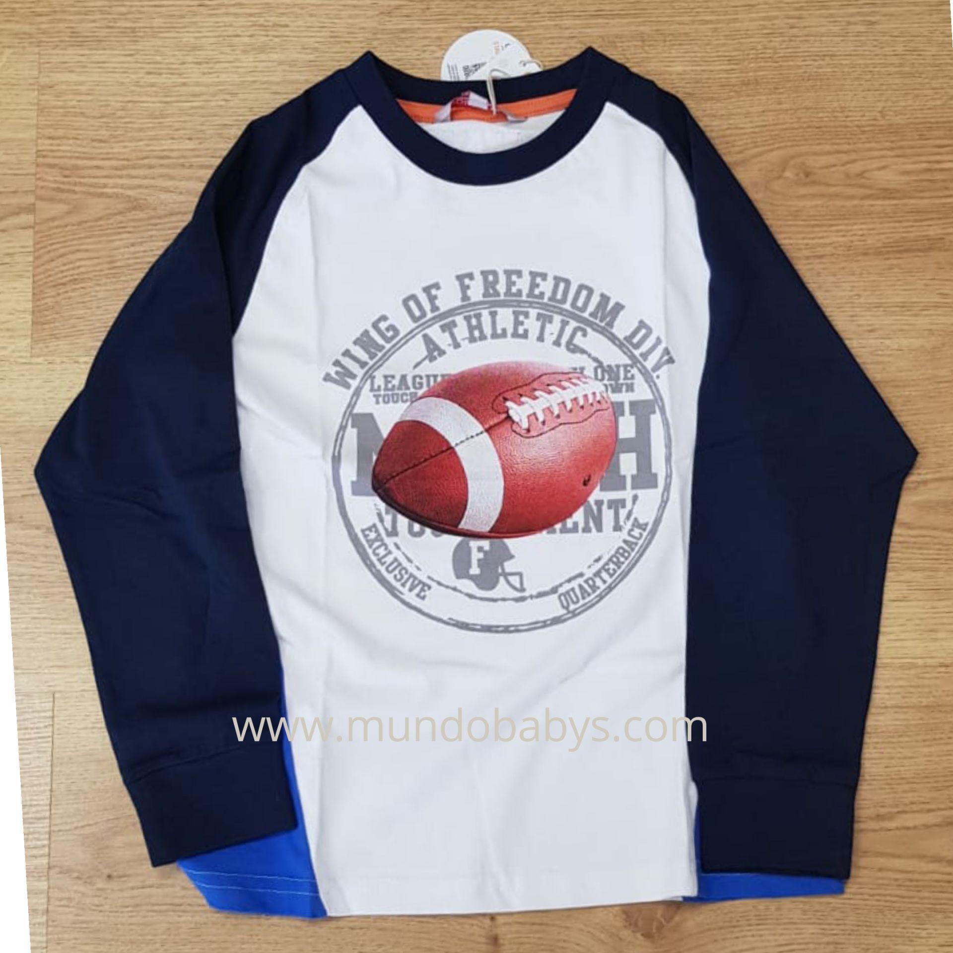 Camiseta Blanca y azul marino