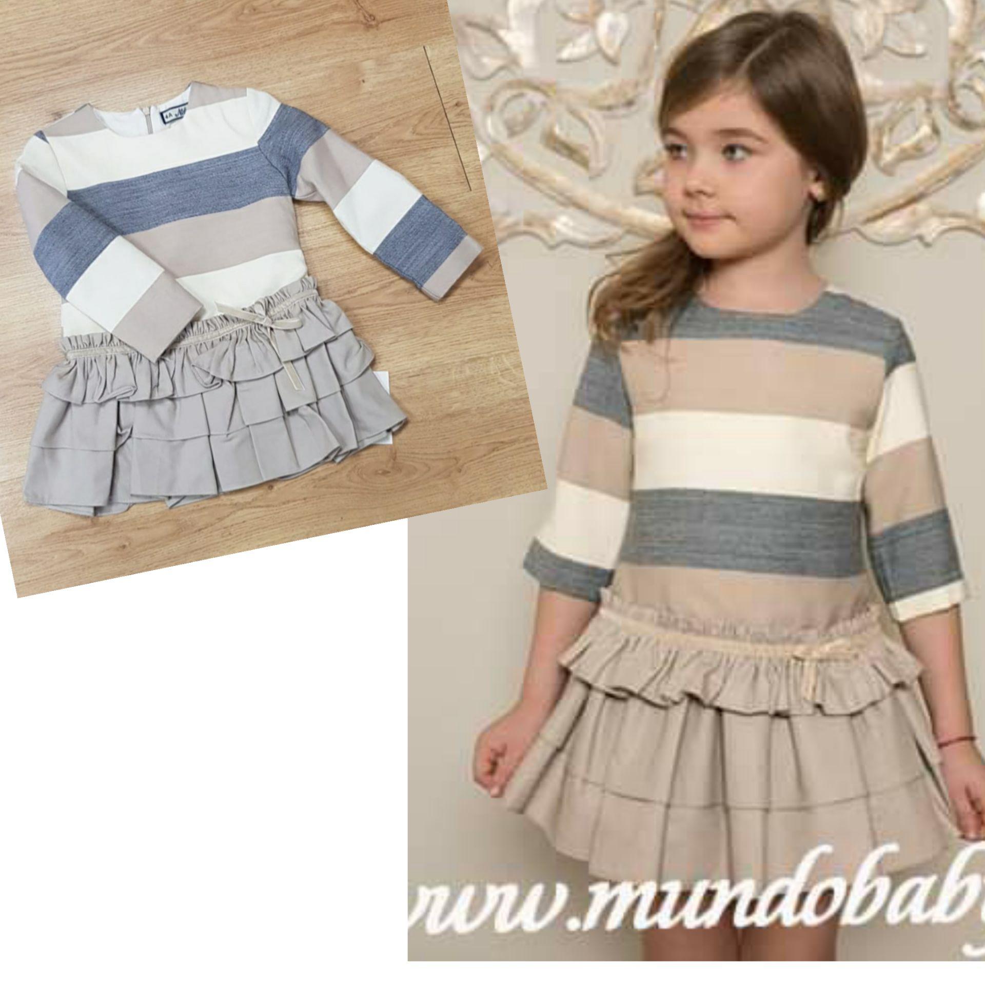 Vestido infantil manga larga rayas