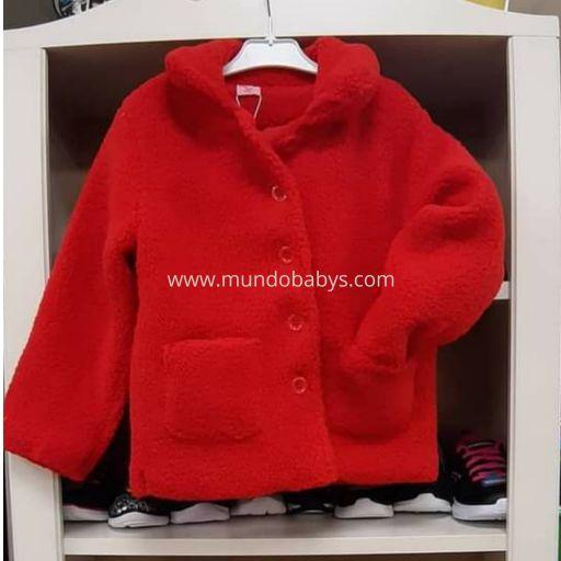 Chaquetón bebé rojo con bolsillos unisex