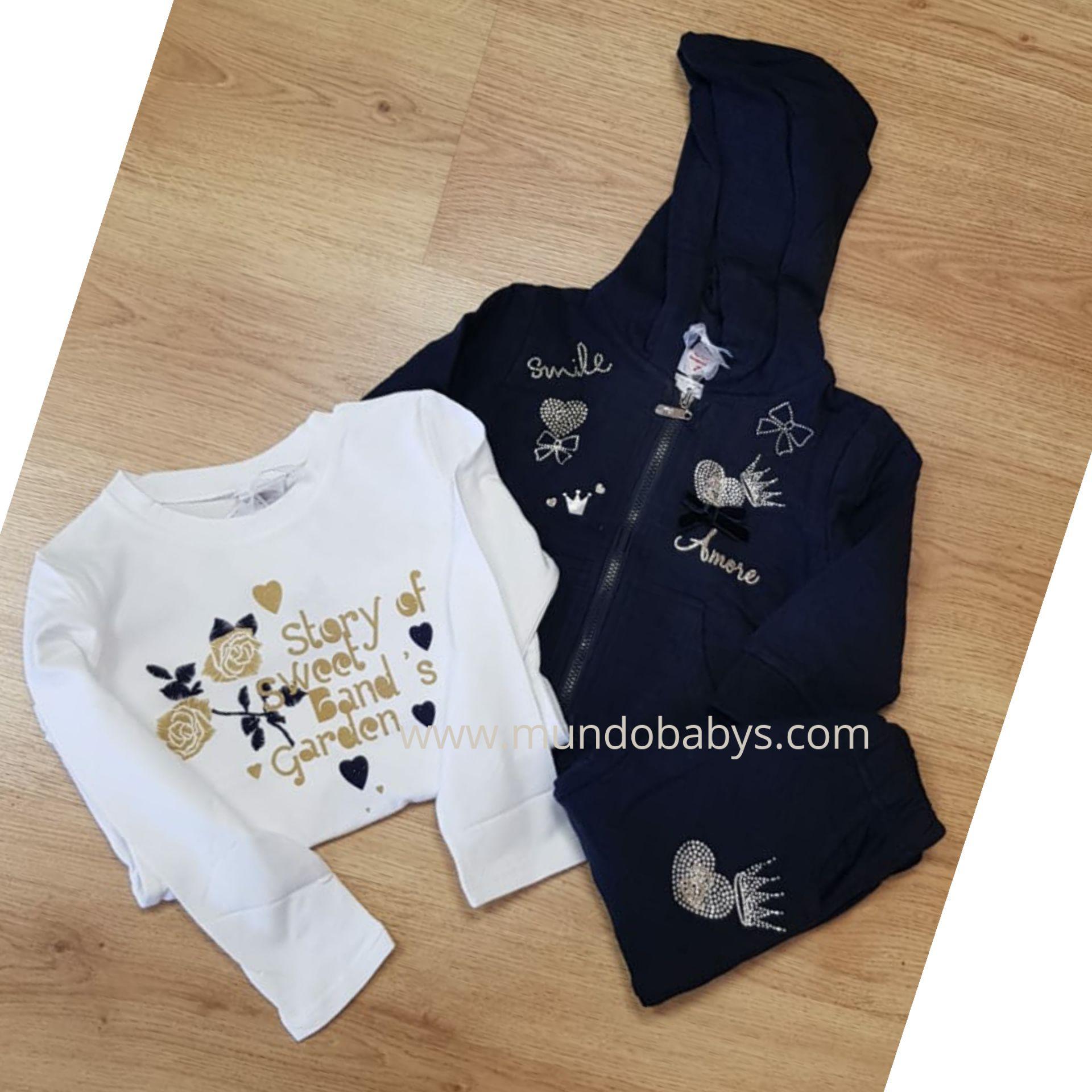 Conjunto bebés  tres piezas en azul marino