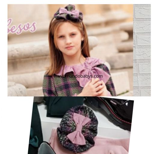 Pinza de pelo rosa palo y bicolor