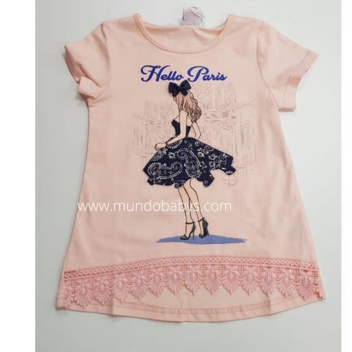 Camiseta salmón serigrafia y puntilla