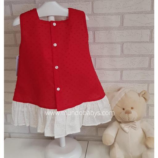 Vestido infantil en rojo y blanco  [1]