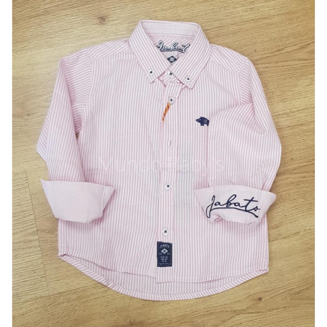 Camisa manga larga rayas rosa y blanco