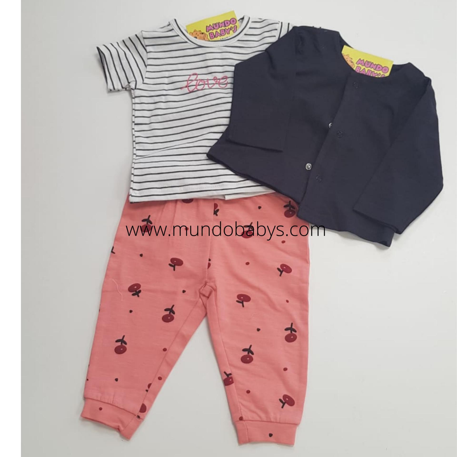 Chaqueta con camiseta rayas y pantalón en cerezas