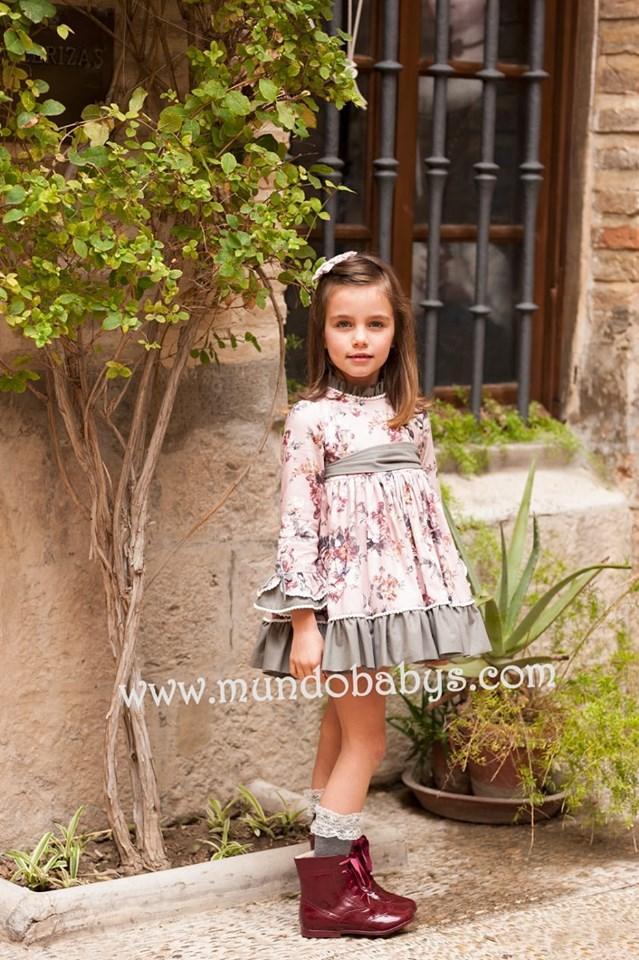Vestido infantil talle alto flores