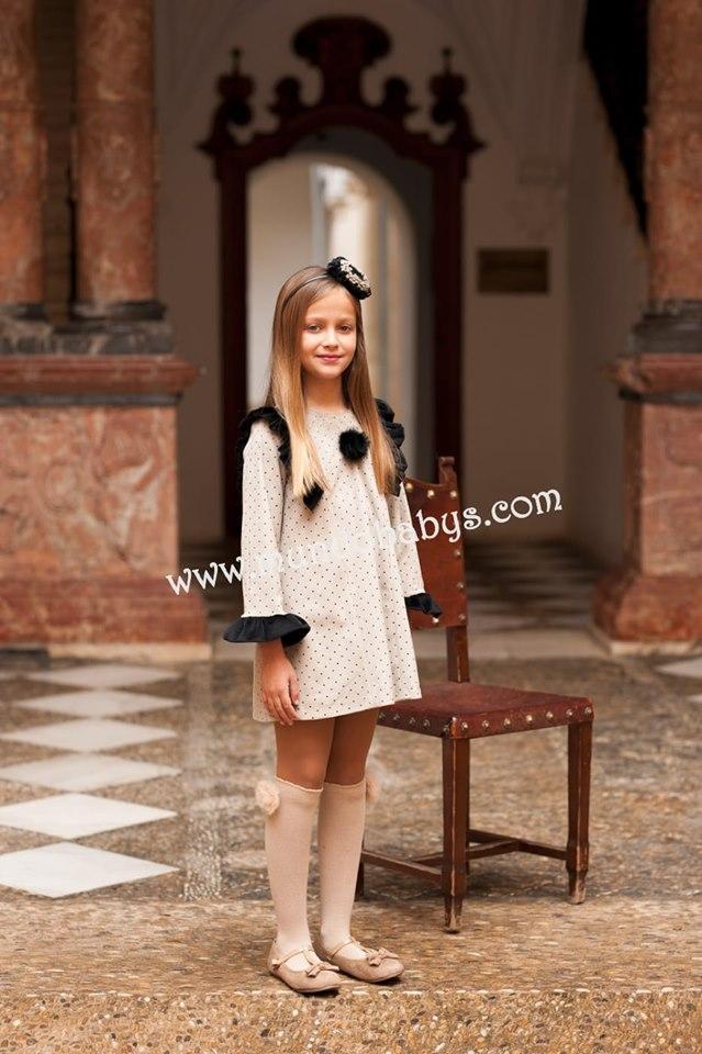 Vestido evase antelina topitos terciopelo