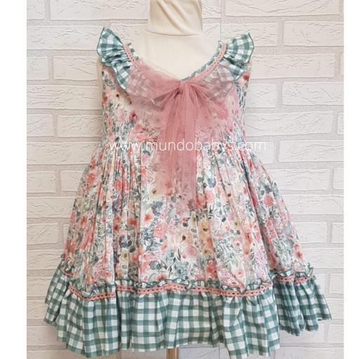 Vestido infantil talle alto flores y cuadros vichy [1]