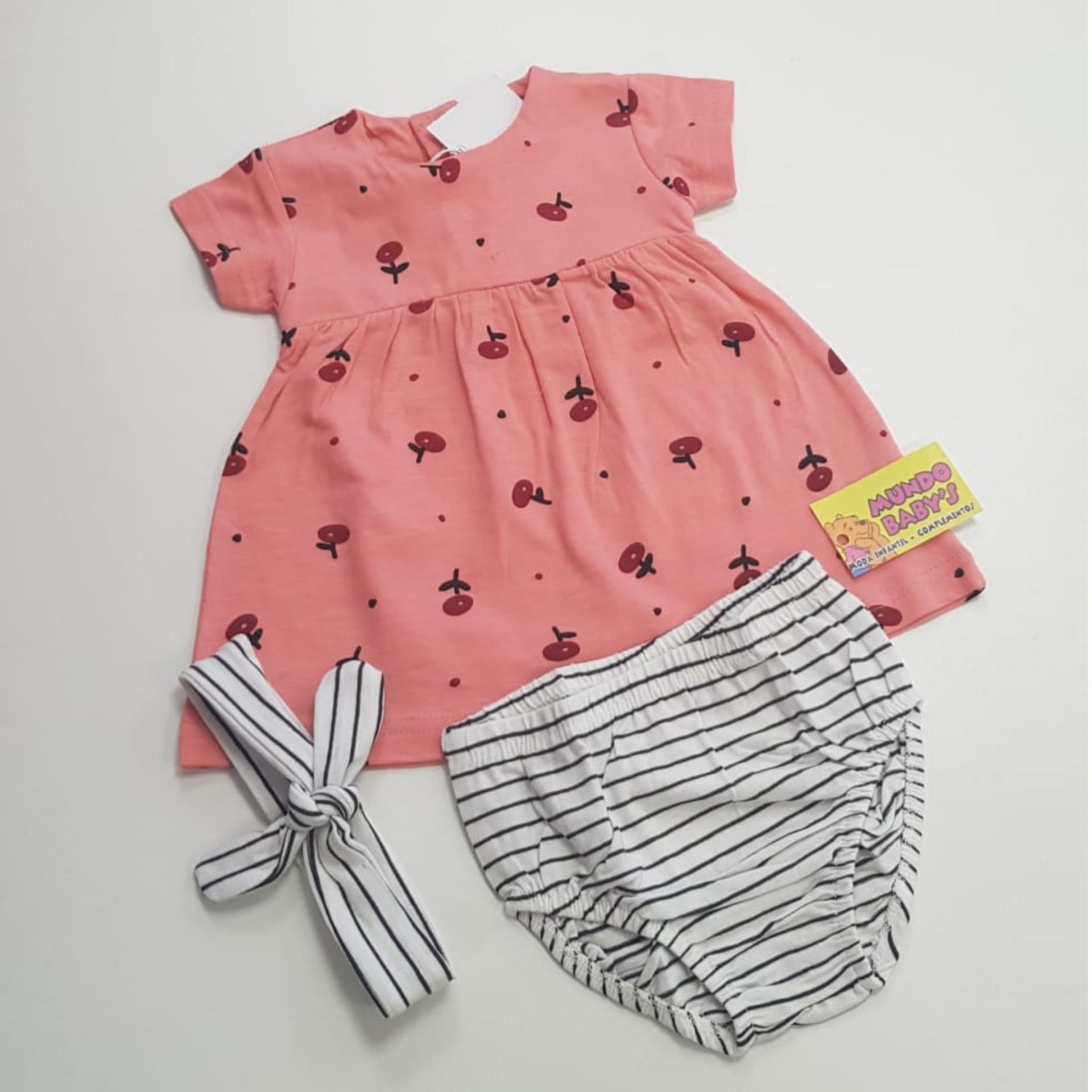Vestido+braguita+diadema estampado cerezas y rayas