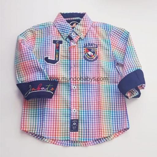 Camisa manga larga multicolor  con escudo bordado [1]