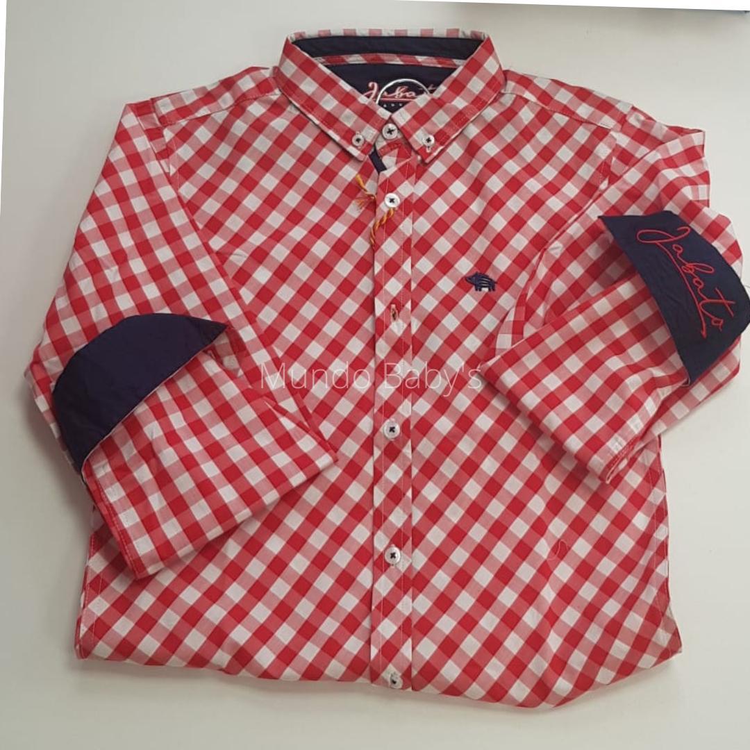 Camisa manga larga cuadros rojos y blancos