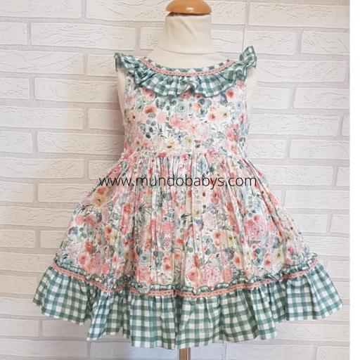 Vestido infantil talle alto flores y cuadros vichy [2]