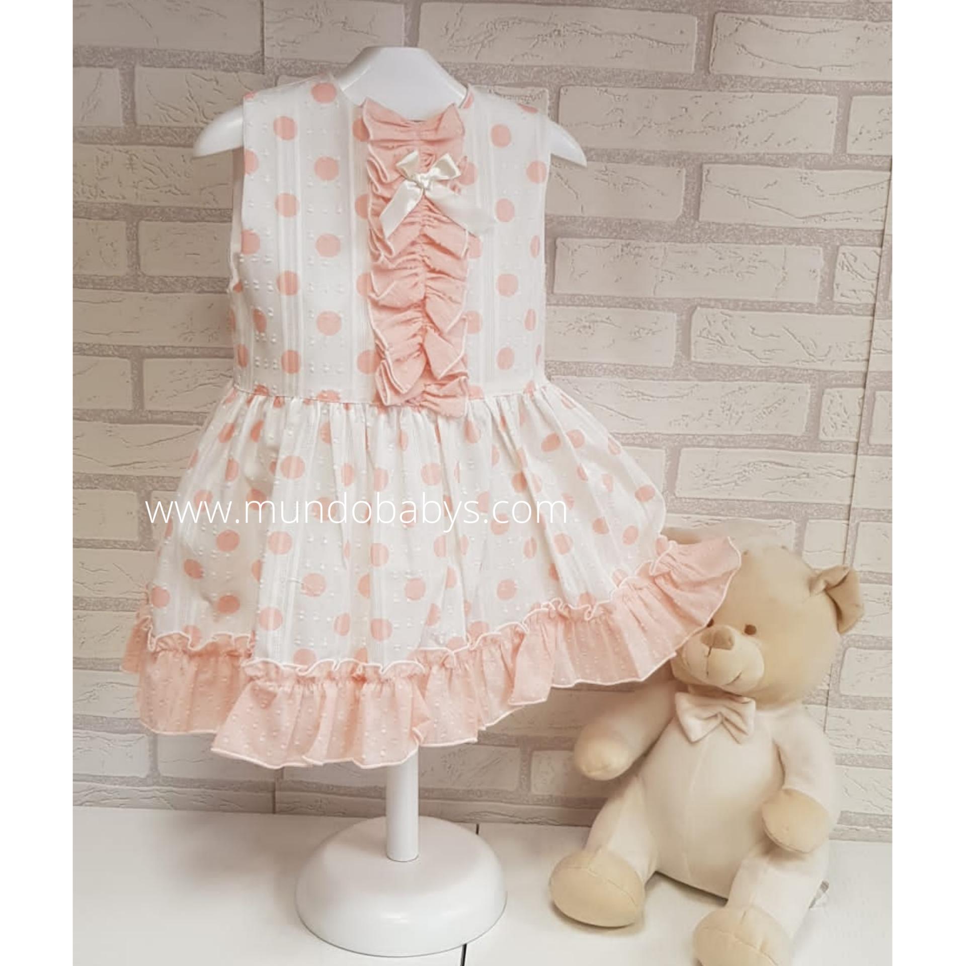 Vestido infantil blanco con lunares coral