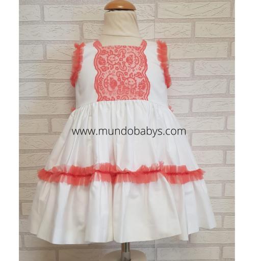 Vestido infantil talle alto blanco y coral [2]
