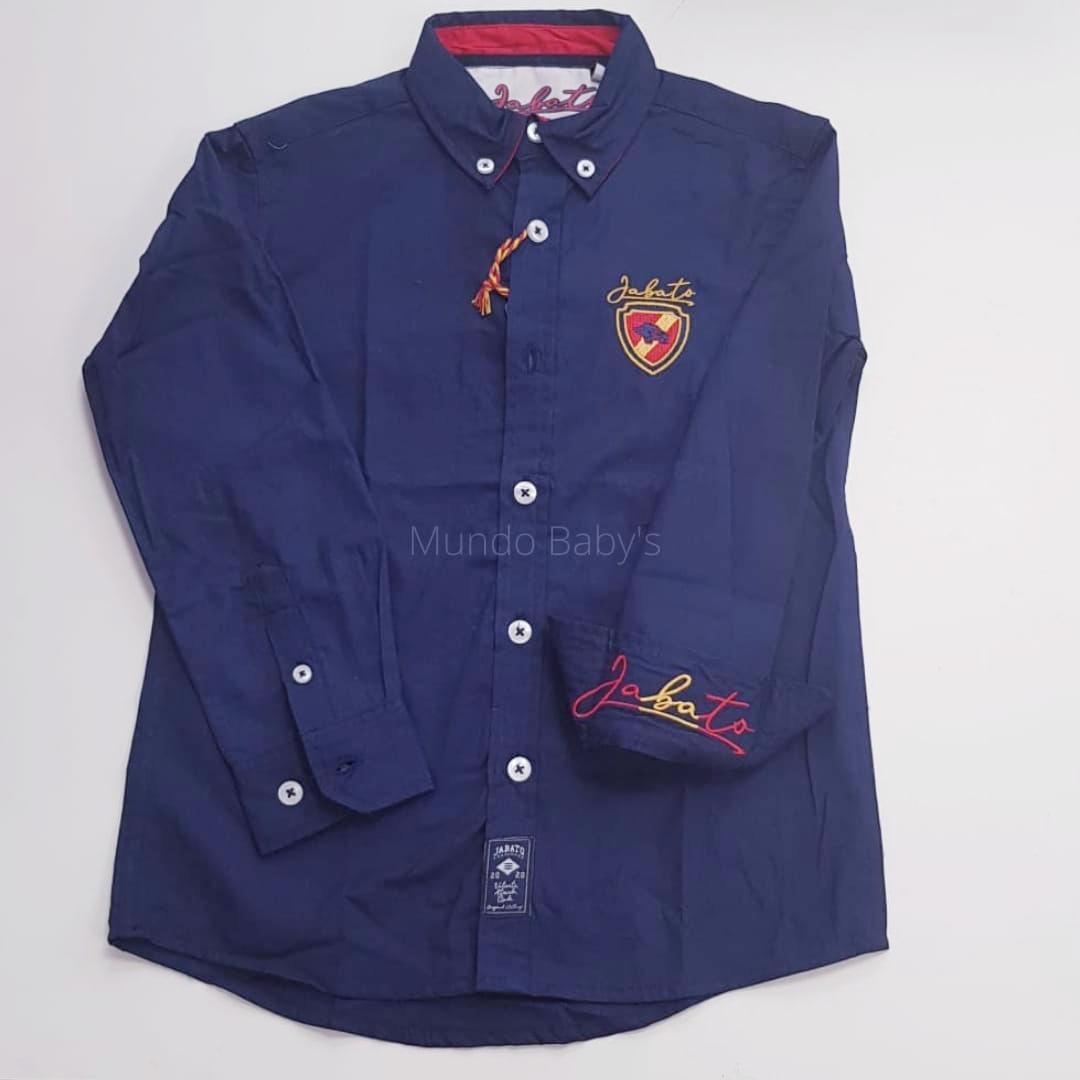Camisa manga larga azul marino con escudo