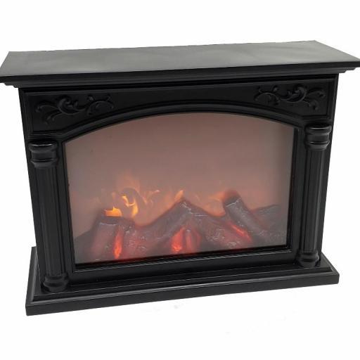 Chimenea decorativa efecto fuego con baterias