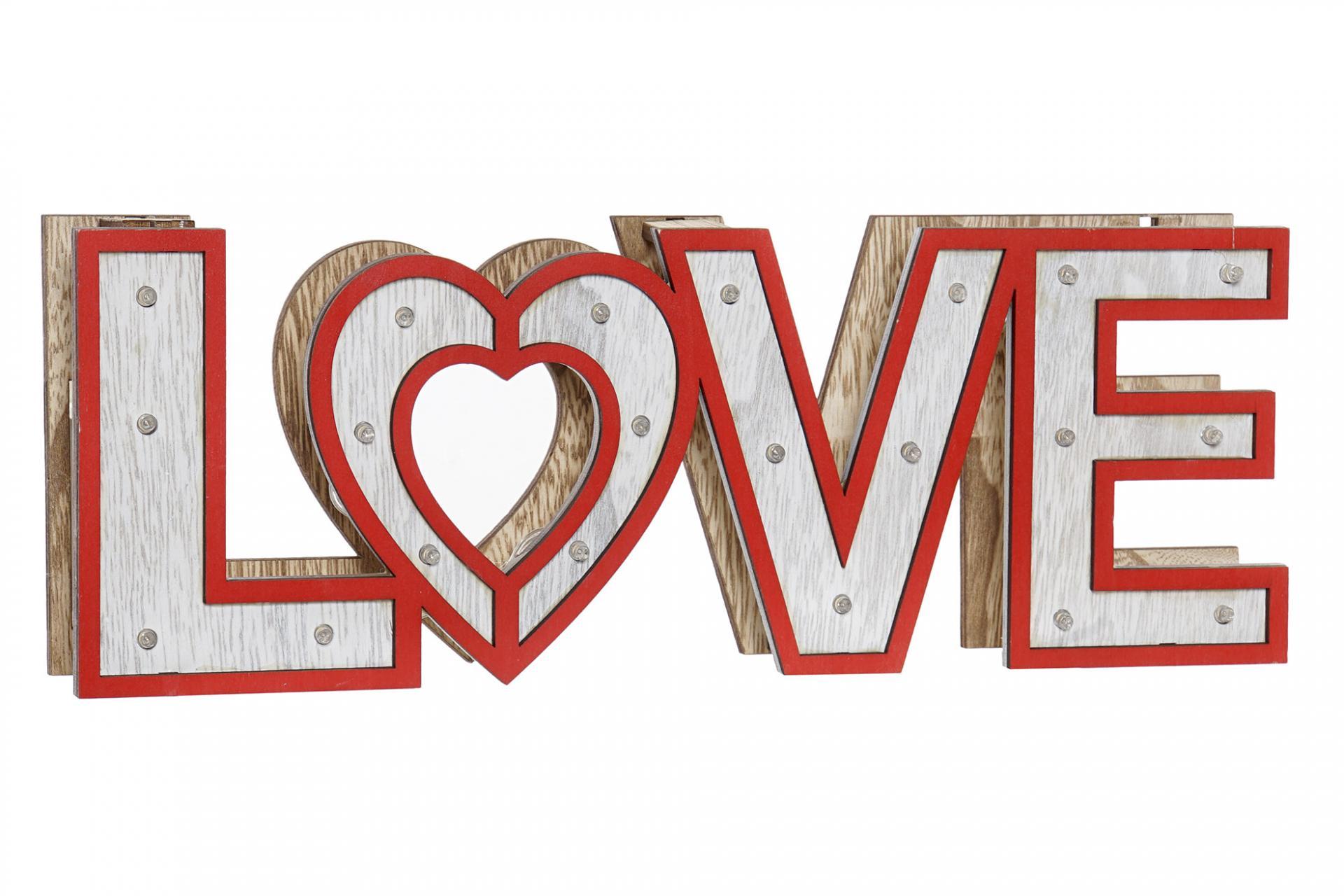 DECORACION LUMINOSA EN MADERA LOVE ROJO 35X4X12 (ITEM INTERNATIONAL)
