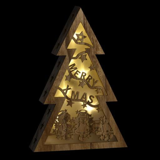 DECORACION LUMINOSA LED EN MADERA Y FORMA ARBOL 19X5,5X28  (ITEM INTERNATIONAL)