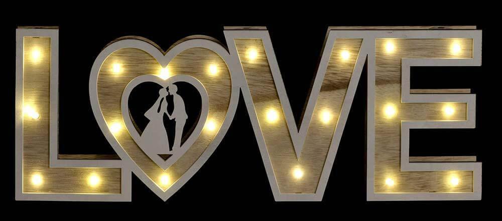 LAMPARA MADERA LOVE LED ( ITEM INTERNATIONAL)