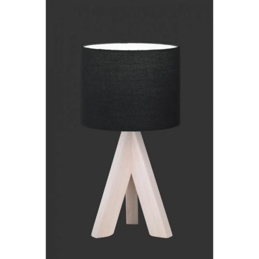 Lámpara de mesa Ging  de madera y tela negra casquillo E14 (Reality Leuchten) [1]