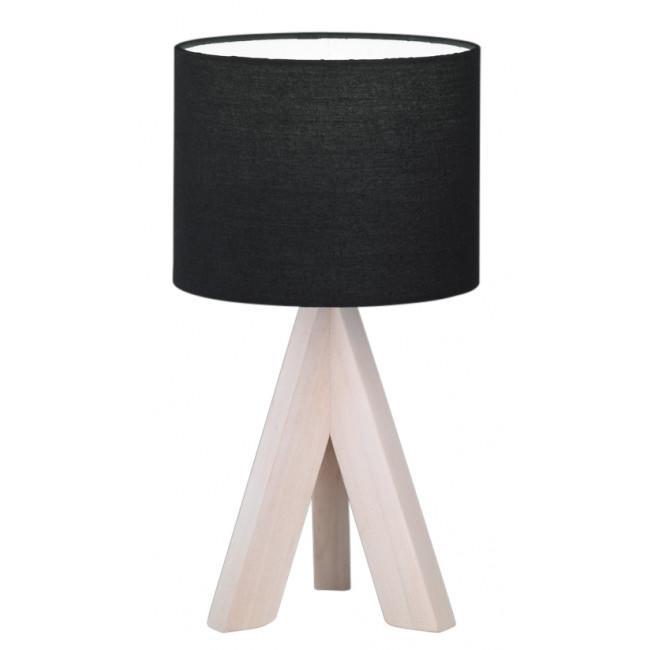 Lámpara de mesa Ging  de madera y tela negra casquillo E14 (Reality Leuchten)