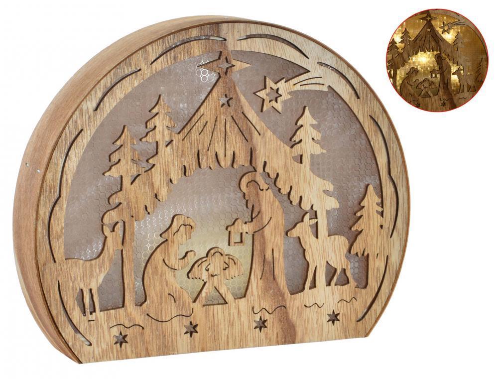 Nacimiento de madera luminoso 23 x18.