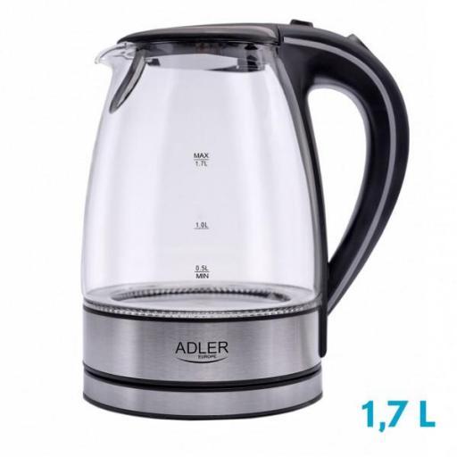 Hervidor De Agua Elect. De Vidrio 0,5-1,7 L 2200w Apagado Automatico.filtro Anti-cal
