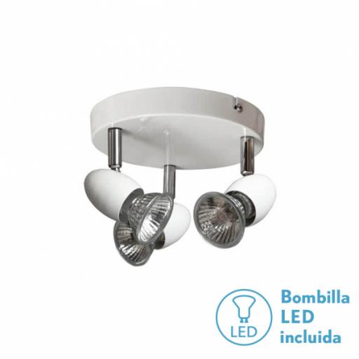 Plafon Foco Sonora Blanco 3xgu10 Bomb. LED incl 13x17d