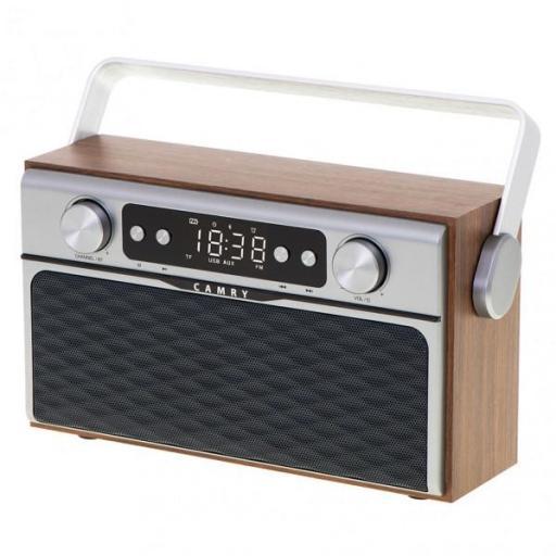 Radio Fm Bluetooh 5.0 Usb Y Tarjeta Sd 16w Aux 50 Memorias Bateria 2600mah 2 Altavoces (FARBILAMP)