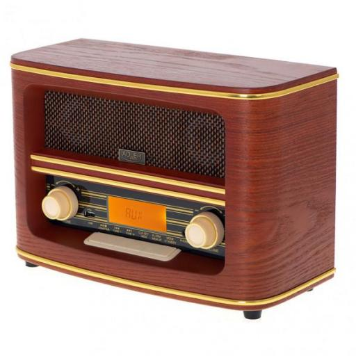 Radio Retro Fm Bluetooh 5.0 Usb Y Aux Reloj Alarma Apag. Autom. 30mem. Salida Auriculares (FABRILAMO)