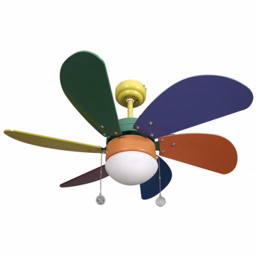 Ventilador Colores Delfin 6 Aspas Color 1xe27 41x65d
