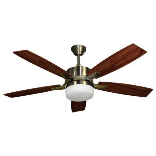 Ventilador Cuero Menfis 5 Aspas Cerezo/nogal 2xe27 46x132d Control Remoto