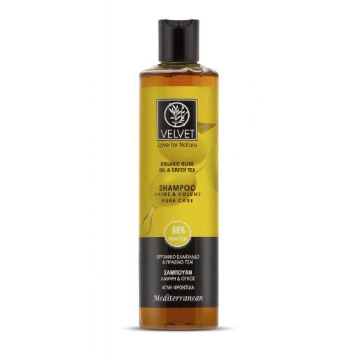 Champú Velvet de aceite de oliva y té verde para Brillo y Volumen 300 ml