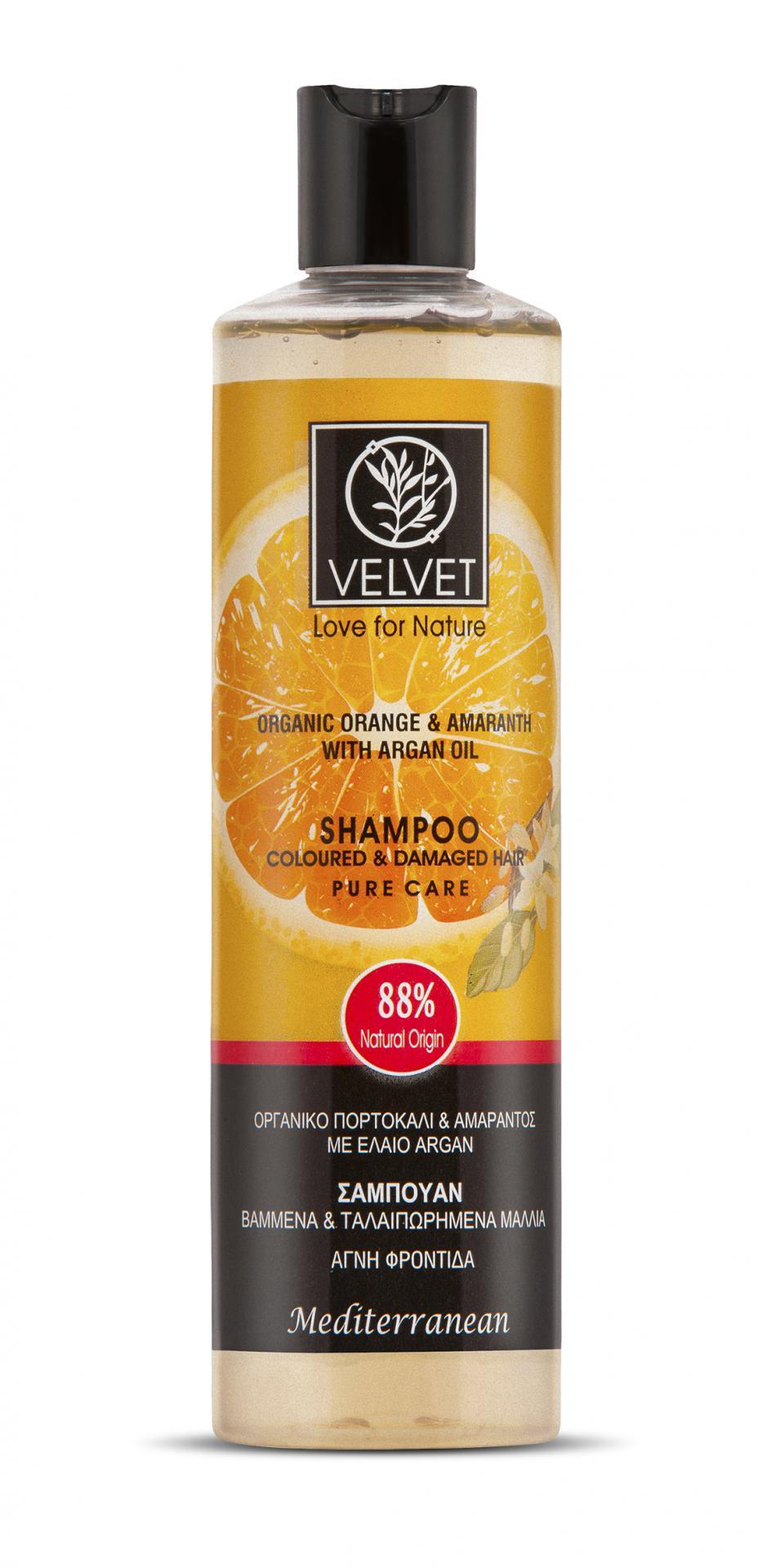 Champú Velvet de Naranja, Amaranto y Argán para cabello teñido y dañado 300 ml