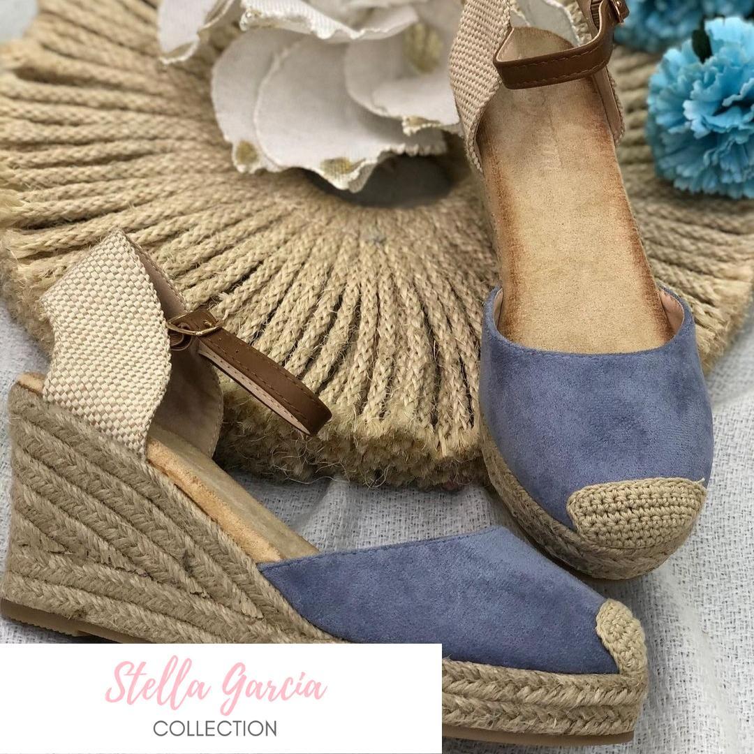 Sandalias Cuña de Esparto en Azul Nº 37