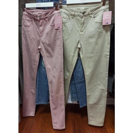 Jeans en Rosa y Beige de Talla 44 a 50