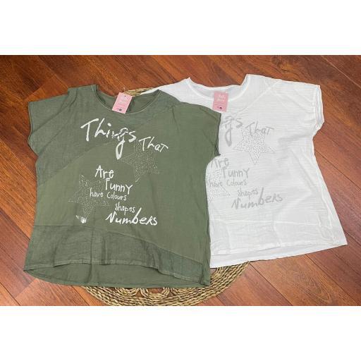 Camiseta Star Talla Grande en Blanco y Verde Talla Grande [1]