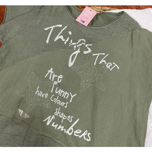 Camiseta Star Talla Grande en Blanco y Verde Talla Grande
