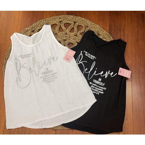 Camiseta Believe Talla Grande en Blanco y Negro [1]