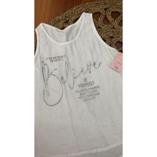 Camiseta Believe Talla Grande en Blanco y Negro
