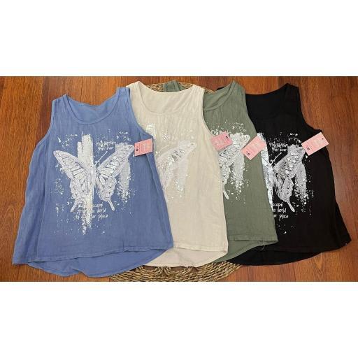 Camiseta Butterfly Talla Grande en Azul, Beige, Verde y Negro [1]