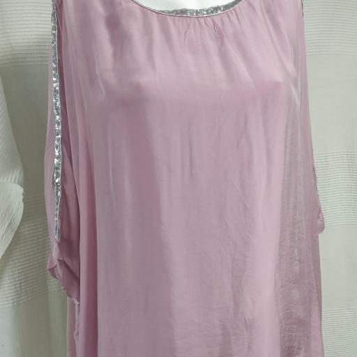 Blusa Seda Pedrería en Blanco [2]