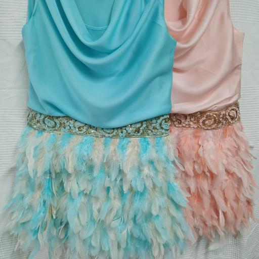 Vestido combinado Plumas en Rosa Talla S [2]